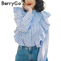 BerryGo Casual 2017 summer ruffle striped shirt Long sleeve blouse shirt women tops Cotton white blouse chemise femme blusas