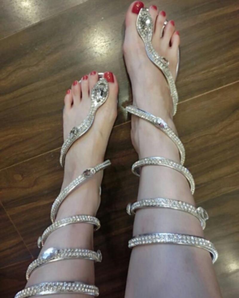 women sandals Crystal Around Women Gladiator Sandal women Boots 2016 New Snake Flat Women Summer Shoes