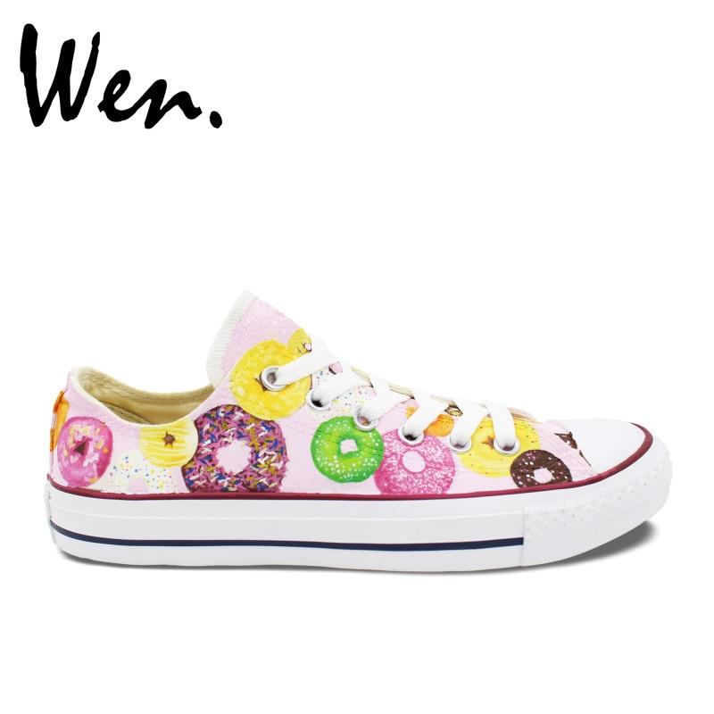 Prix pour Wen Original Peint À La Main Chaussures de Beignets Colorés Low Top Hommes Femmes Rose Toile Sneakers pour Garçons Filles Cadeaux