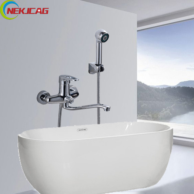 Long Nose 25cm Nose Bathtube Faucet with Handheld Shower Mixer Tap ...