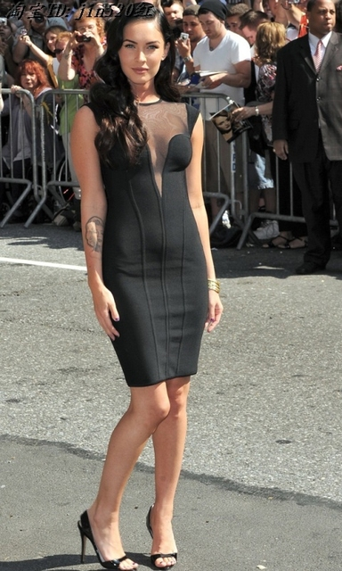 73ab2ab17f Hot Selling Sexy Megan Fox Mesh Black Bandage Dress New Arrival New Knitted  Bodycon Elegant Designer Dress