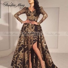 Glitter Gold Sequin Arabic Evening Dress with Detachable Train V-Neck Slit  Long Sleeve Formal 06ee85a38e25