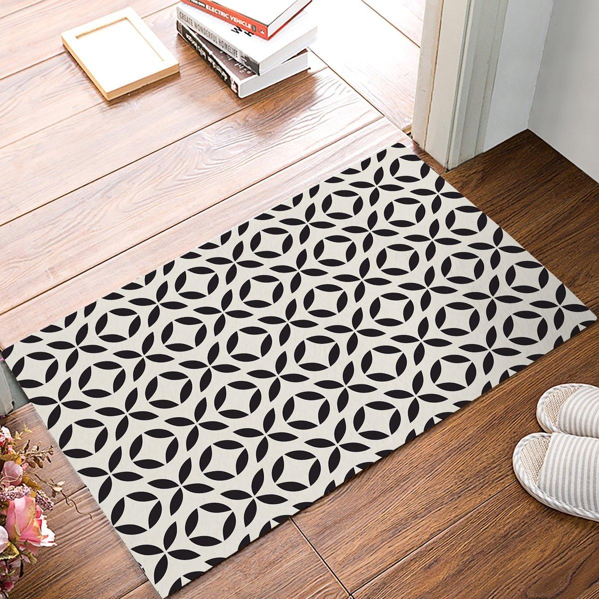 Black And White Geometric Kitchen Rug: Modern Geometric Pattern Black And Beige Door Mats Kitchen