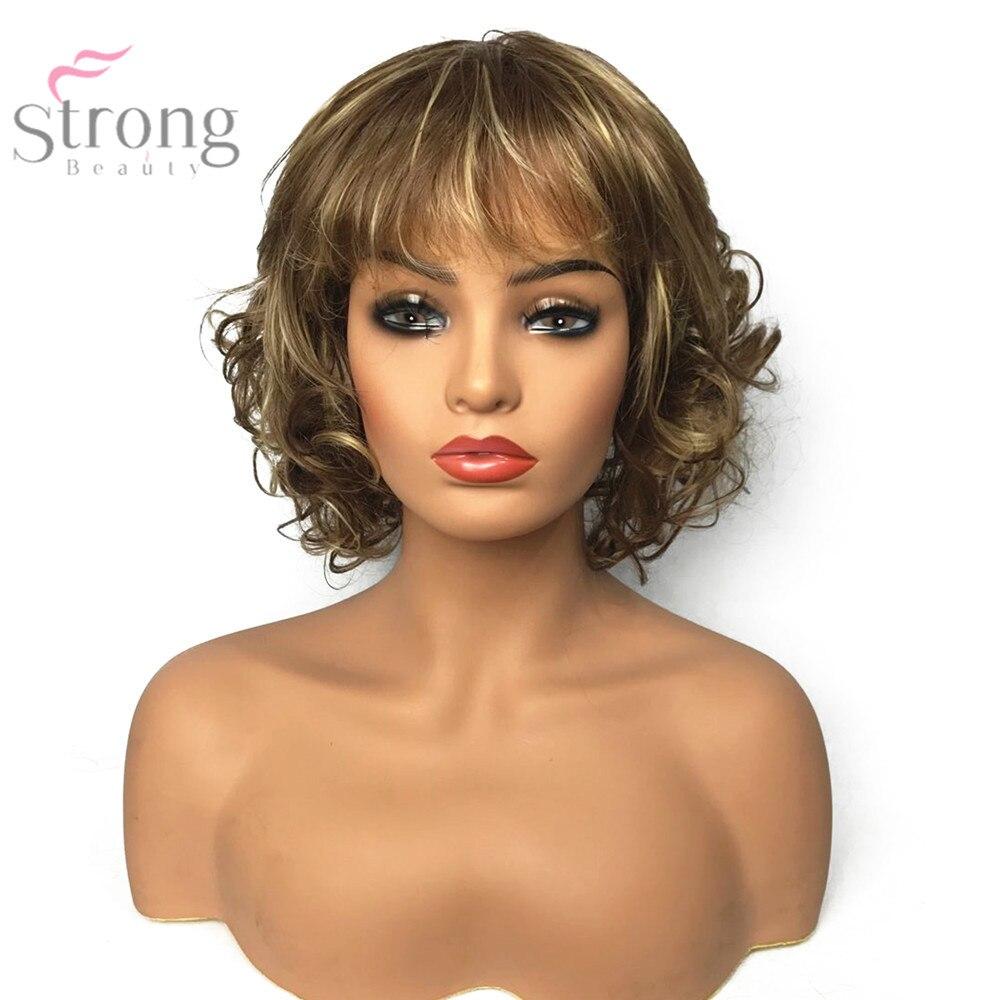 strongbeauty femmes synthétique perruque capless court bouclés