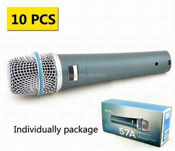 Free shipping, 10 pcs discount price whole sale  57A BETA57 A dynamic cardioid drum musical microphone