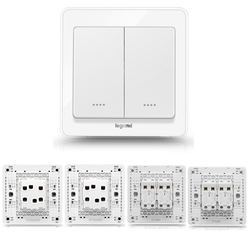 High Quality 2 Gang 4 Way Wall Switch Kit Crystal White