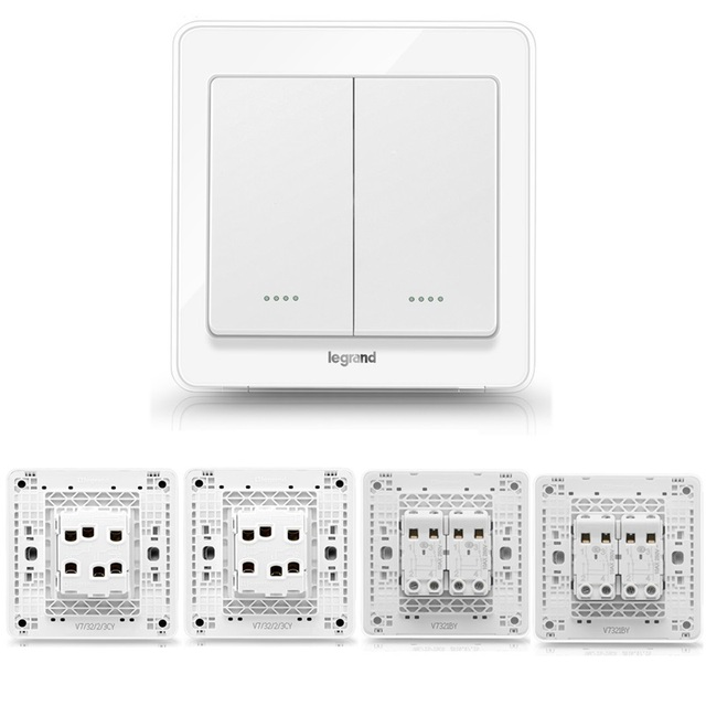 High Quality 2 Gang 4 Way Wall Switch Kit Crystal White Light