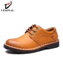 VESONAL Brand Business Genuine Leather Man Casual Shoes Men Adult Quality Spring Autumn Walking Footwear Breathable Male Shoes