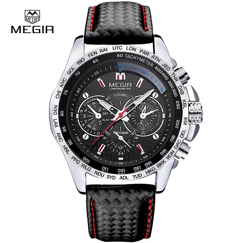 Prix pour 2016 megir montres hommes d'affaires quartz montre homme en cuir décontractée marque hommes analogique montre-bracelet étanche pour homme heures horloge 1010