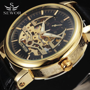 SEWOR 2016 Fashion Gold Skeleton Watch Mens Luxury Leather Band Military Mechanical Watches Classic Automatic Watch For Men