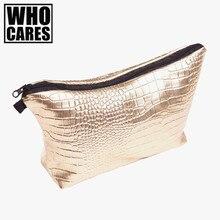 Alligator Gold makeup bag trousse de maquillage 2016 Fashion New Cosmetic bags trousse de toilette make up bag travel organizer