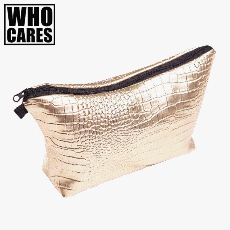 Alligator Or maquillage sac trousse de maquillage 2016 De Mode Nouveaux sacs à Cosmétiques trousse de toilette maquillage sac voyage organisateur
