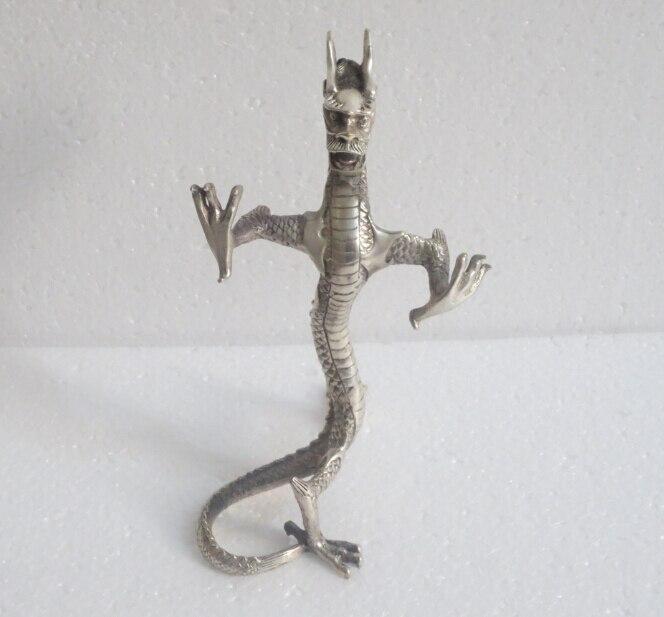 Travail manuel décoré à collectionner Tibet argent sculpté statue de dragon statue livraison gratuite
