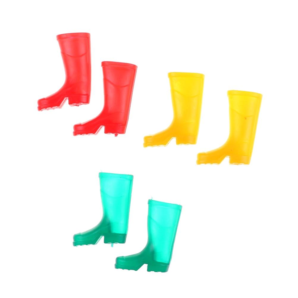 1 Paar 1/12 Schaal Poppenhuis Meubels Miniatuur Rubber Regen Laarzen Thuis Tuin Yard Accessoire 3 Kleuren Poppen Laarzen
