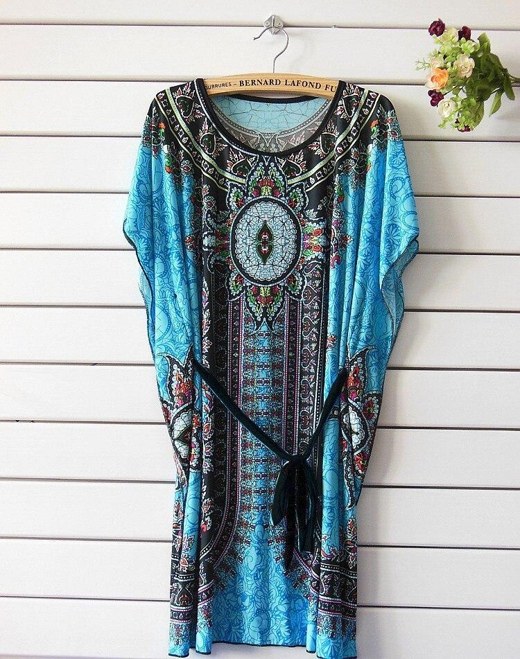 Vintage Dress 2017 New Summer Style Retro Print Boho Loose Casual Dress Bohemian Tunic Beach Dress Vestidos Plus Size Dress 22