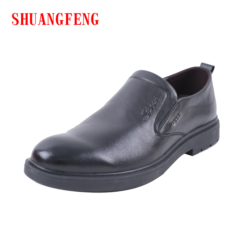 SHANGFENG 2018 New Brand Genuine Leather Shoes Men Footwear Non-slip Soft Sole Fashion Men's Casual Shoes Male Cowhide  Loafers mycolen casual shoes men genuine leather shoes soft comfortable male footwear men s shoes brand black loafers mocassin homme