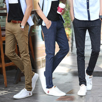 Mens Slim Fit Casual Business Plaid Suit Pants High Quality Brand Spring Autumn Formal Trousers Black