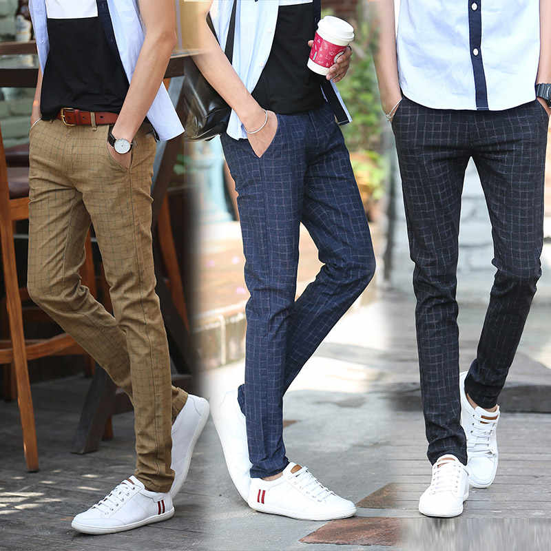 メンズスリムフィットカジュアルビジネス格子縞のスーツパンツ高品質ブランド春秋正式なズボン黒カーキ