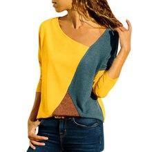 3253ae057b9eb86 Женская рубашка Blusas повседневная с круглым вырезом сплайсинга цвета  столкновения с длинными рукавами плюс размер легко Топы б.