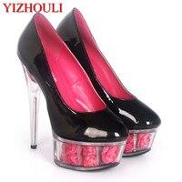 Для женщин неонового цвета пикантные 15 см Ультра Высокий каблук Насосы/розовый 6 дюймов прозрачной платформе с цветами вечерние туфли разме...