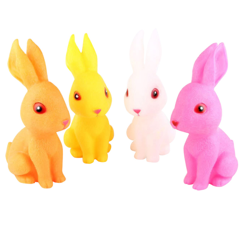 23cm Animal Rabbit Swimming Water Toys Colorful Soft Floating Rubber Squeeze Sound Squeaky Bathing Toy for Baby Bath Toys