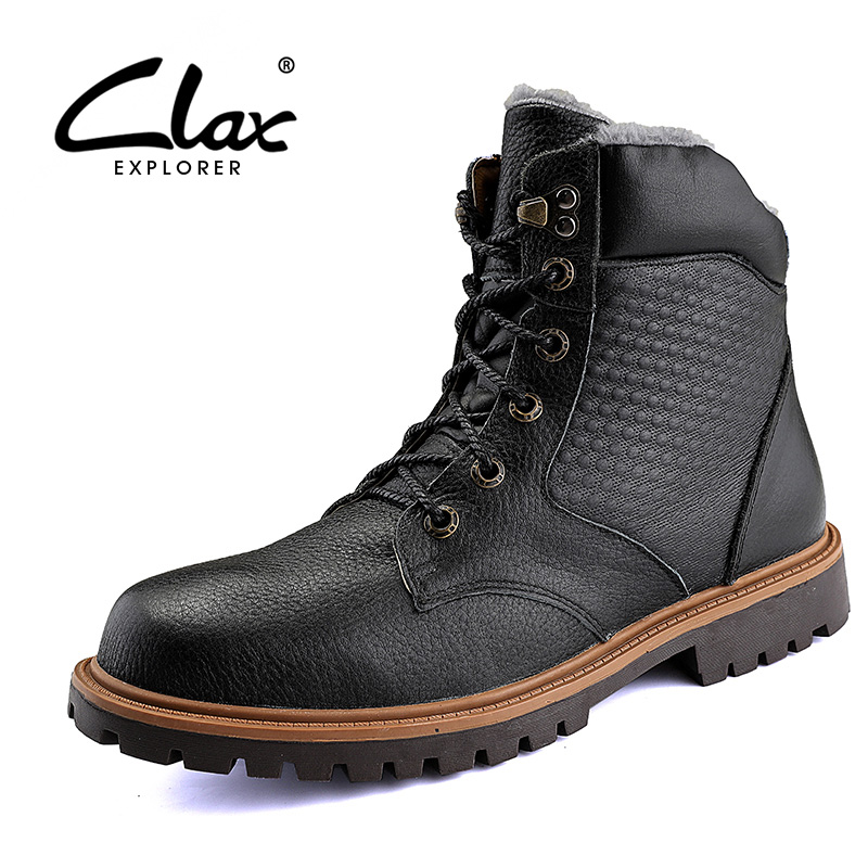 CLAX Mens Winter Boots Genuine Leather Snow Boots Plush Fur Warm Male Casual leather Shoe High Top motorcycle boots plus size clax men dress boots genuine leather 2017 winter black formal shoes male handmade snow shoe plush fur warm footwear big size