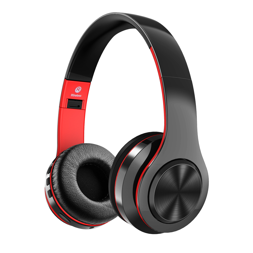 Bluetooth Headphones Active Noise Cancelling Stereo Wireless Headset with TF Card Input, Aux line, Soft Earmuffs, Built-in Mic