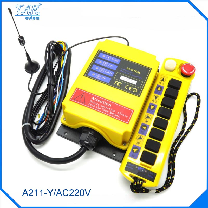 220VAC 1 Speed 1 Transmitter 8 Channels Hoist Crane Industrial Truck Radio Remote Control System Controller receiver AC220V 500M 24v hs 4 1 receiver 1 transmi speed control hoist industrial wireless crane radio remote control system no battary