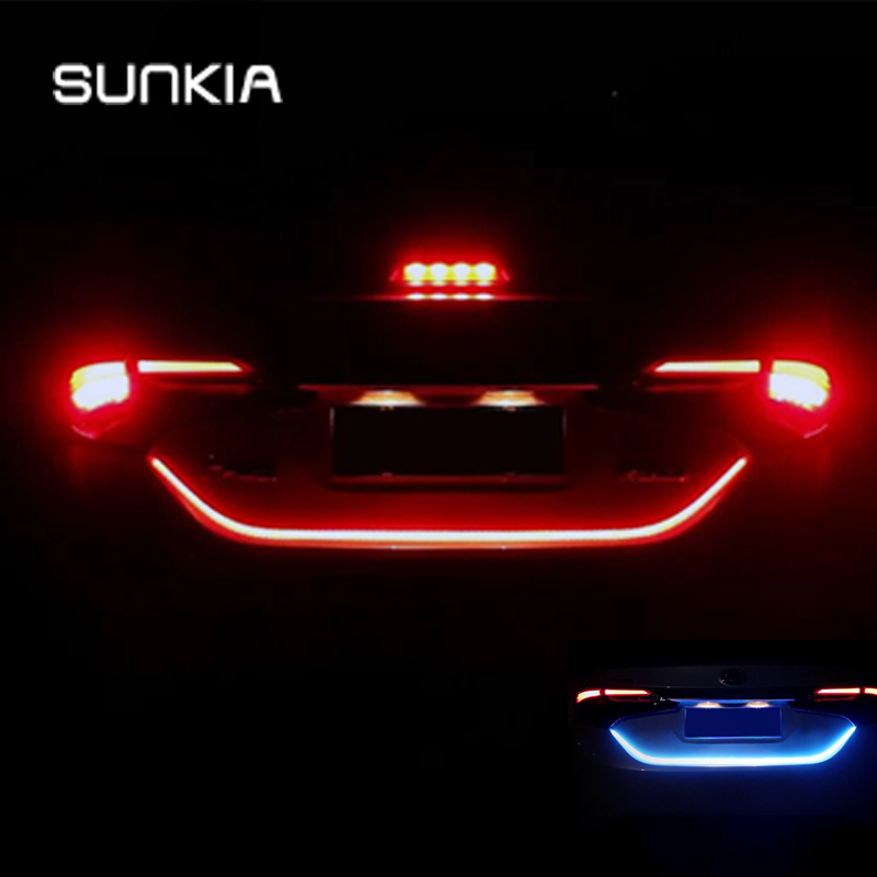 SUNKIA New 12V Strip Light Car Warning Light Rear Tail Box Light Car Styling Streamer Brake Turn Signal LED Lamp Waterproof