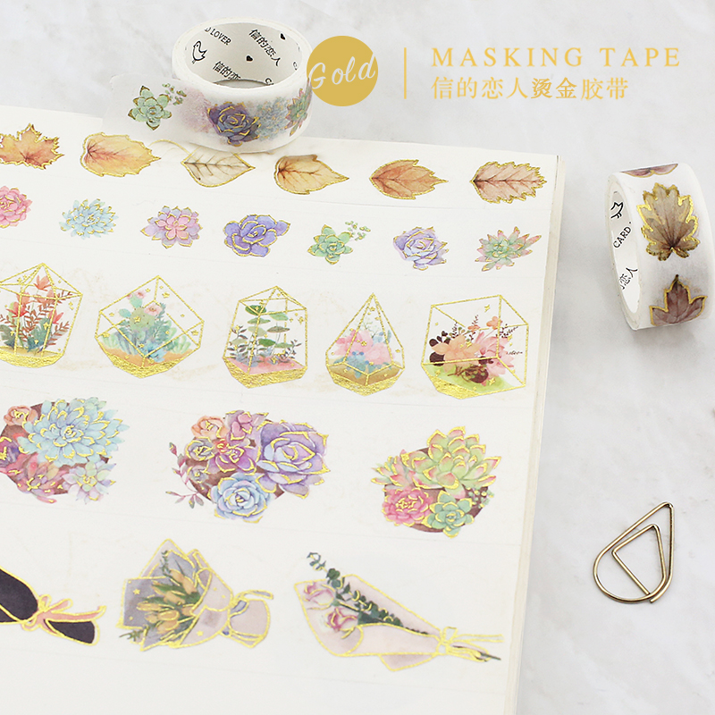 10 Styles Gold Foil Gild Washi Tape Hot Stamping Flower Bonsai House DIY Bullet Jornal Stickers Decorative Sticker Masking Tapes