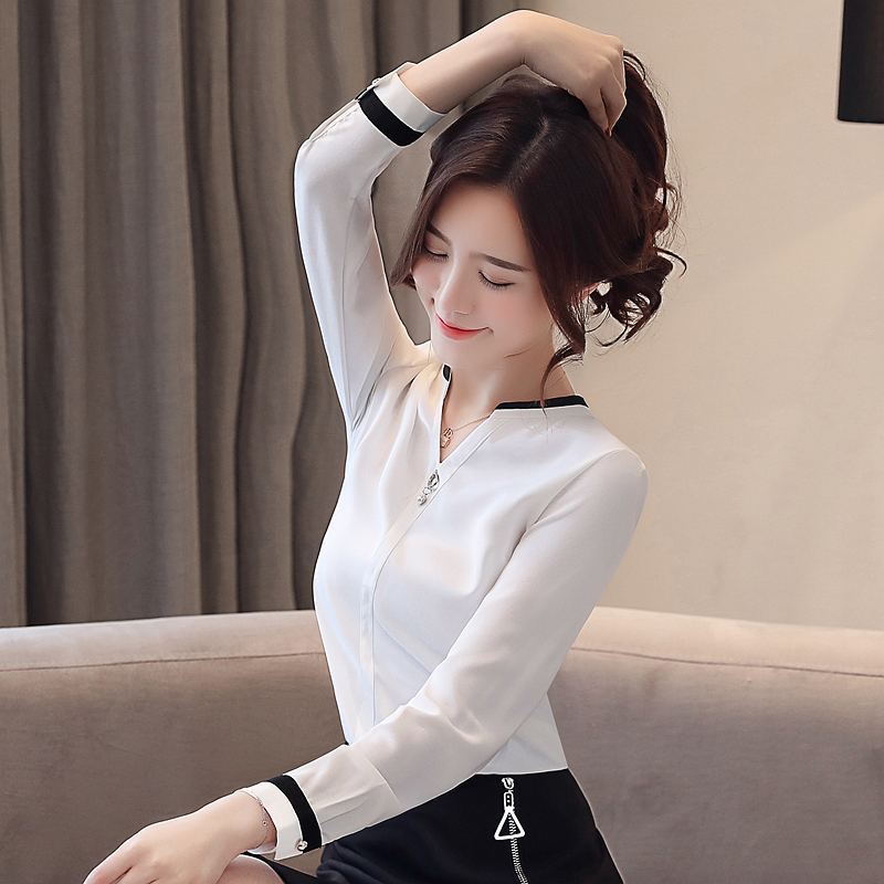 Womens Tops And Blouses Blusas Mujer De Moda 2021 Shirts Beading Chiffon Blouse Solid V-Neck White Shirts 2412 50 3