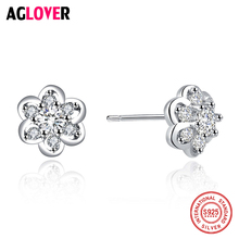 AGLOVER Fine Nice Woman Stud Earrings Pure 925 Sterling Silver Exquisite Flower Inlaid Zircon Crystal Fashion Classic Jewelry