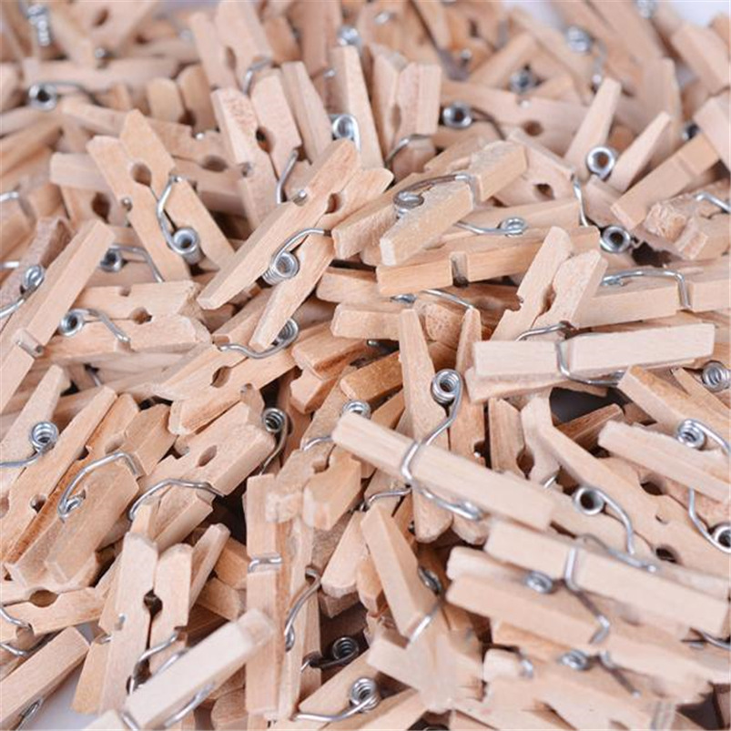 100 PCS Clips Mini Wooden Clothes Pegs Decorative Clothespins Home Decor Clothe Photo Peg Clothespin Clips Dropshipping #FG29 (1)