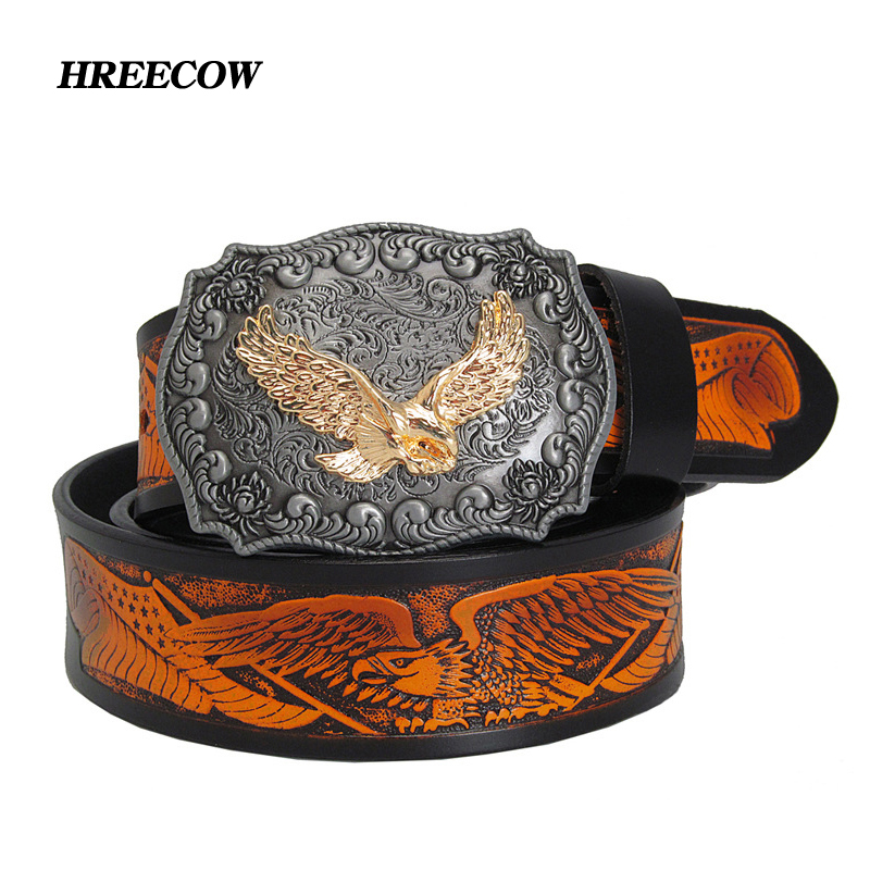 Fashion Casual Men's Leather Belts Top Quality Eagle Totem Copper Smooth Buckle Retro Belt For Men's Jeans