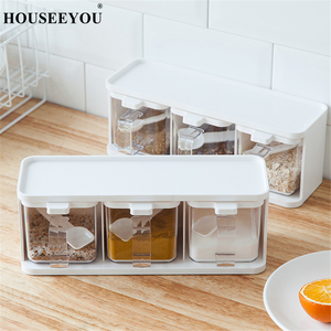 Image 3 - Spice Rack 3 Grids Spoon Kitchen With Lid Container Seasoning Box Herb Spices Storage Condiment Jar Cooking With Handle Desktop