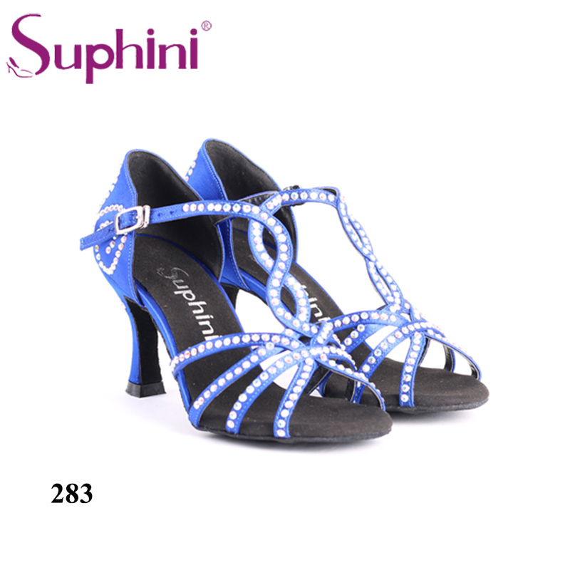 Crystal Woman Salsa Dance Shoes 7.5cm flare heel Blue Latin Dance Shoes Free Shipping косметический набор oem abc 2 1 7 q589