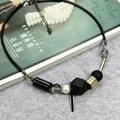 De alta calidad de nueva negro cuerda choker collar geométrico hueco cuentas de madera joyería de moda collar corto de la vendimia para las mujeres