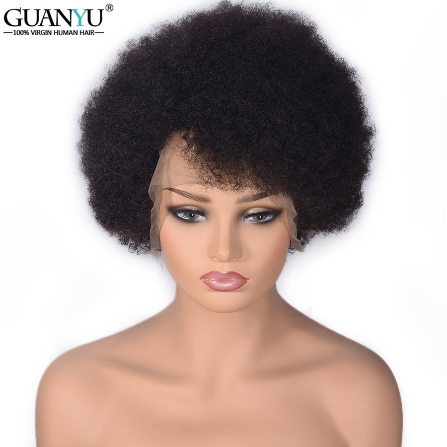 Wig Human-Hair Full-Lace Curly Baby Women Afro Short with Remy for Black End-Guanyu Pre-Plucked