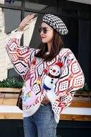 Wielokolorowy sweter damski świąteczny z naszywanym bałwanem 3D 2