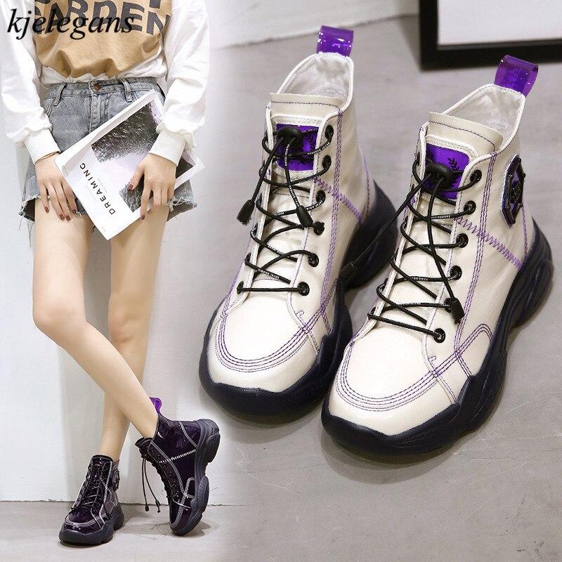 Kjelegans 2018 purple sewing Women sneakers fashion high top casual personality lace up plush winter ladies wedges espadrilles