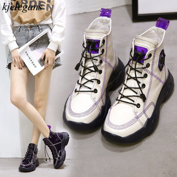 New price Brand Designers 2019 New Spring Autumn Women Shoes Black High Heels  Boots Lacing Platform ed609464641d