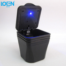 Portable Auto Car Smokeless Stand Cylinder Cup Holder Cigarette Ashtray with Blue LED Light (Black) free shipping by HK post air
