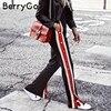 BerryGo Split Red Stripe Casual Pants Women Bottom Button Loose Trousers Female Pants Summer Style Streetwear