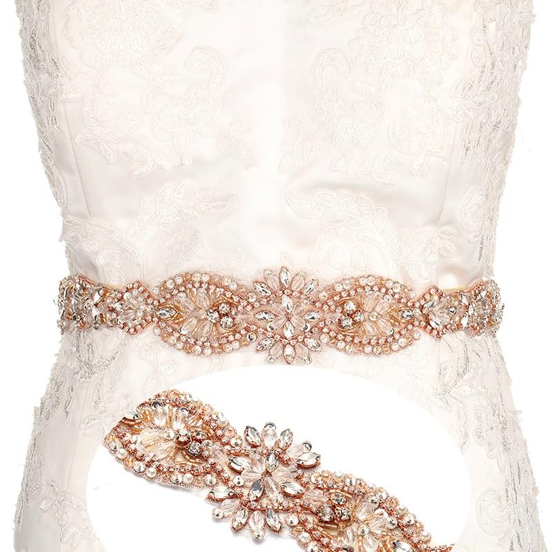YANSTAR font b Bridal b font Rhinestone font b Wedding b font Belts Rose Gold Crystal
