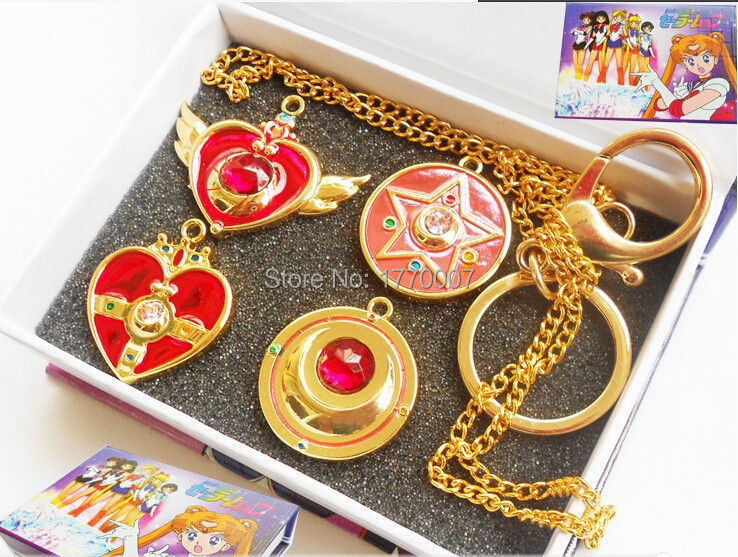 4pc/lot Golden Sailor Moon Wing+Heart+Star+Moon Pendant Necklace+Keychain Pretty Guardian Anime Gift Box Cosplay Wholesale