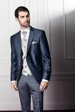 2016 Custom Made Handsome 3 Piece Men Slim Fit Suits Tuxedo Bridegroom Wedding Suit Formal Dinner Suit Blazer+Pants+Vest
