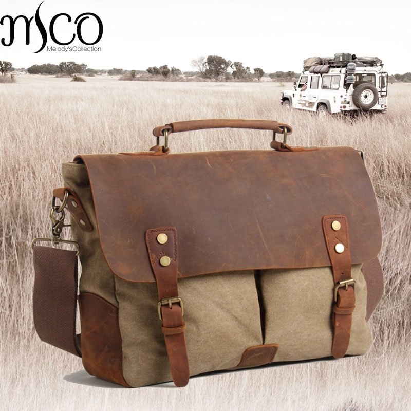 MCO 2018 Vintage Waxed Canvas Male Messenger Bag Oiled Leather Military Business Bag Large Capacity School Laptop Crossbody Bags цена 2017