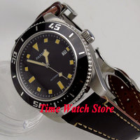 43mm Parnis black dial yellow marks luminous sapphire crystal MIYOTA Automatic movement men's watch men wristwatch 704