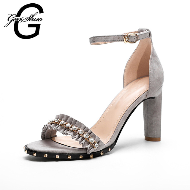 0a14a2c59ded GENSHUO High Heeled Sandals Shoes Women Summer Ankle Strap Ruffles Crystal  Rivets Block Heel Sandals Ladies Flock Size 35-39
