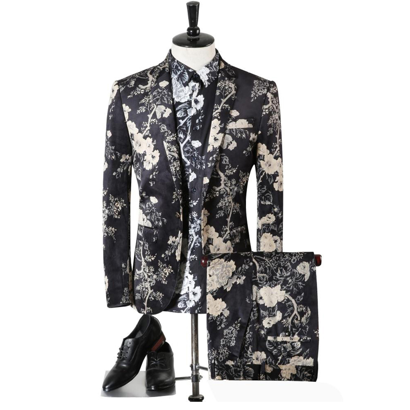 2017 New Arrivel Men Suit High Quality European And American Style Flower Printing Two Pieces Suits (Jacket And Pants)